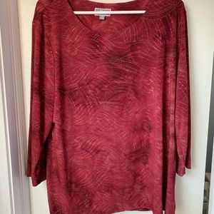 JM COLLECTION MAROON TEXTURED & EMBELLISHED TUNIC